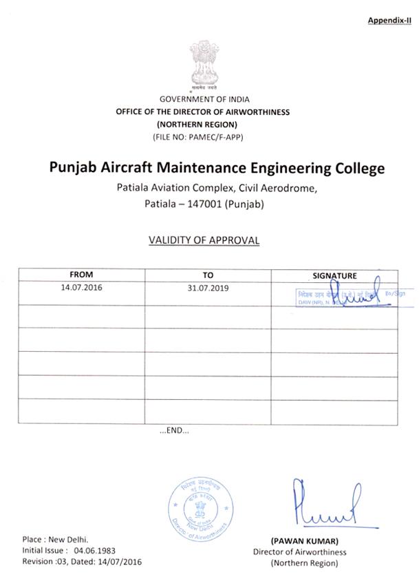 DGCA Approval Certificate – PAMEC